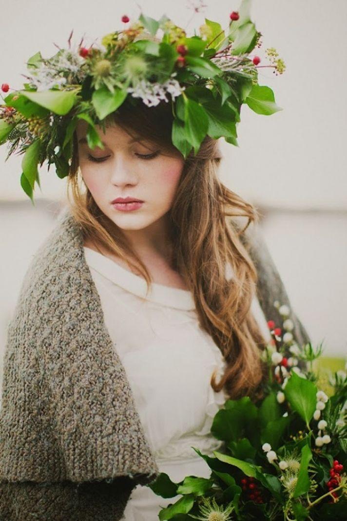 Winter greenery bridal headpiece