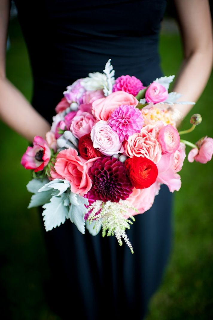 Bridesmaids bouquet in bright pinks