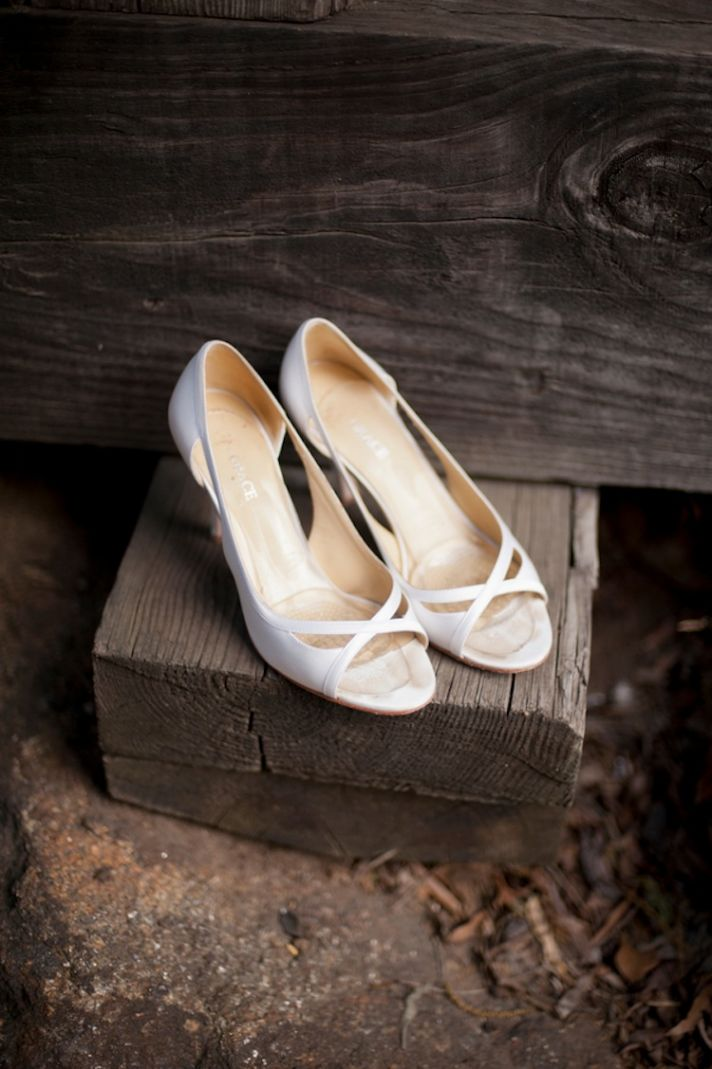 Bridal shoes on railroad ties