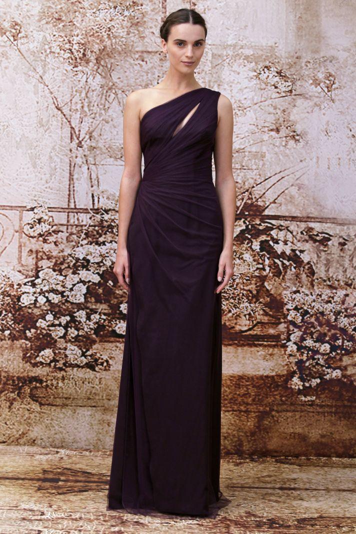 Plum bridesmaids dress from Monique Lhuillier