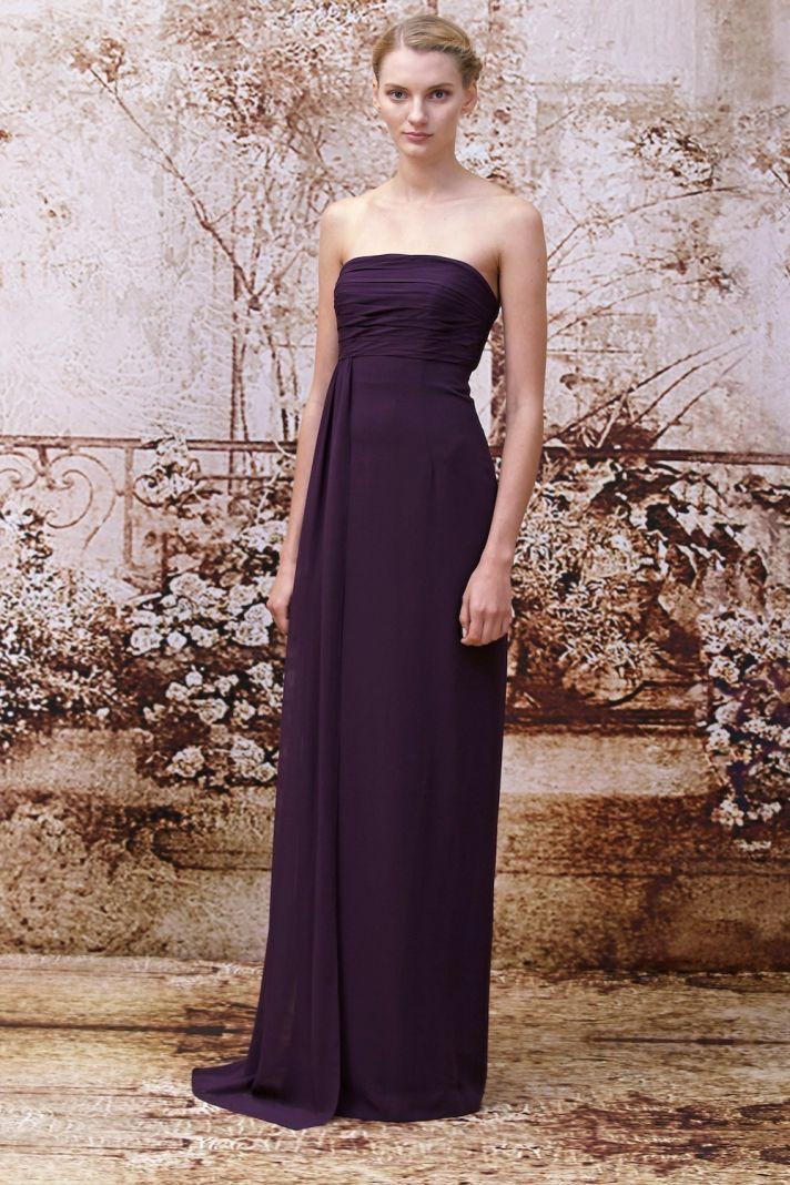 Royal purple bridesmaids dress from Monique Lhuillier