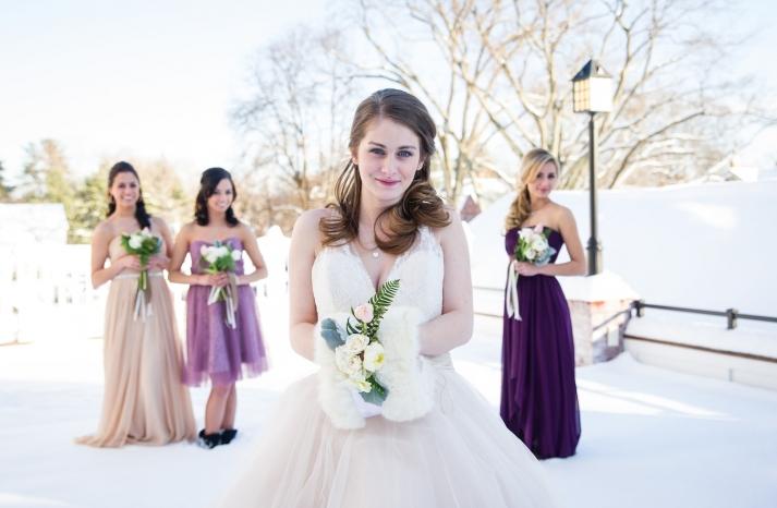 Winter wonderland bride with bridesmaids