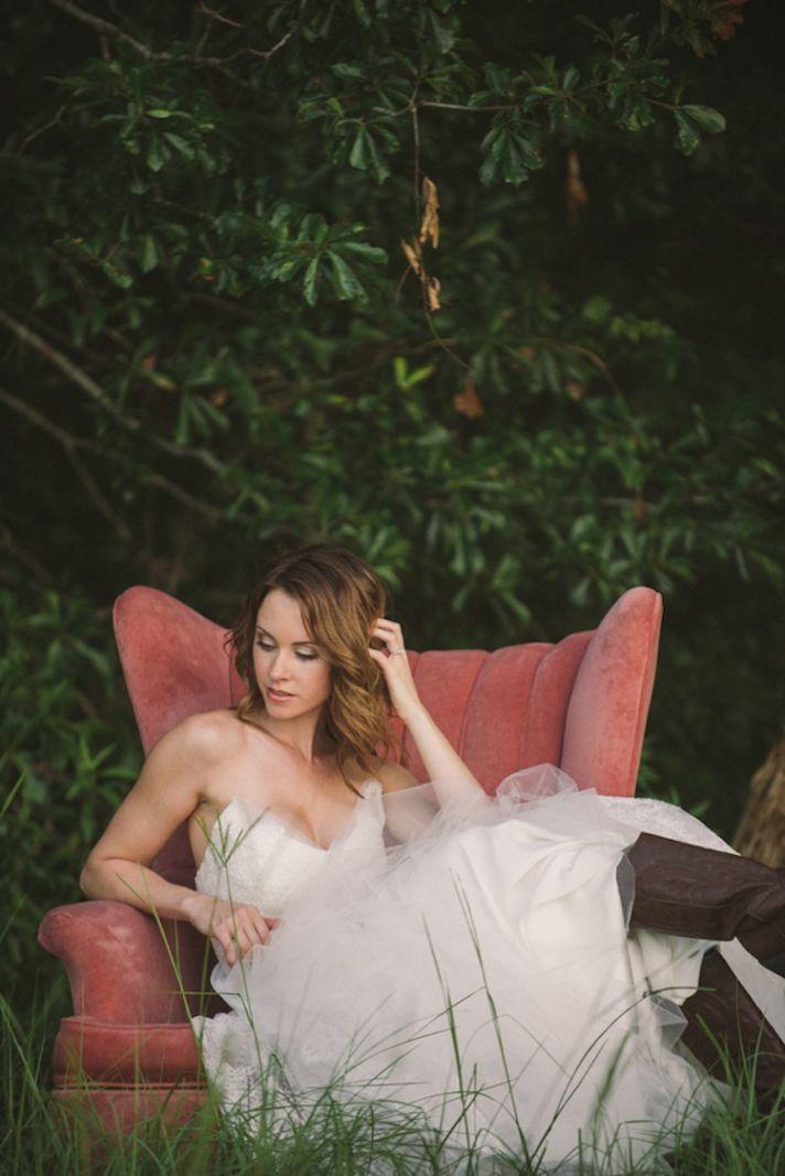 Rustic bride outdoor setting