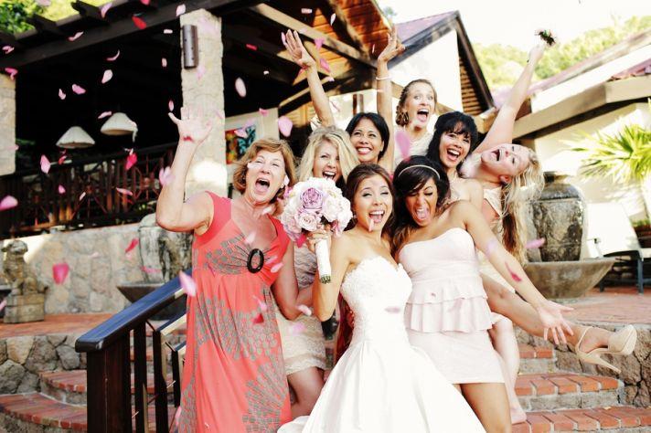 Fun destination wedding party