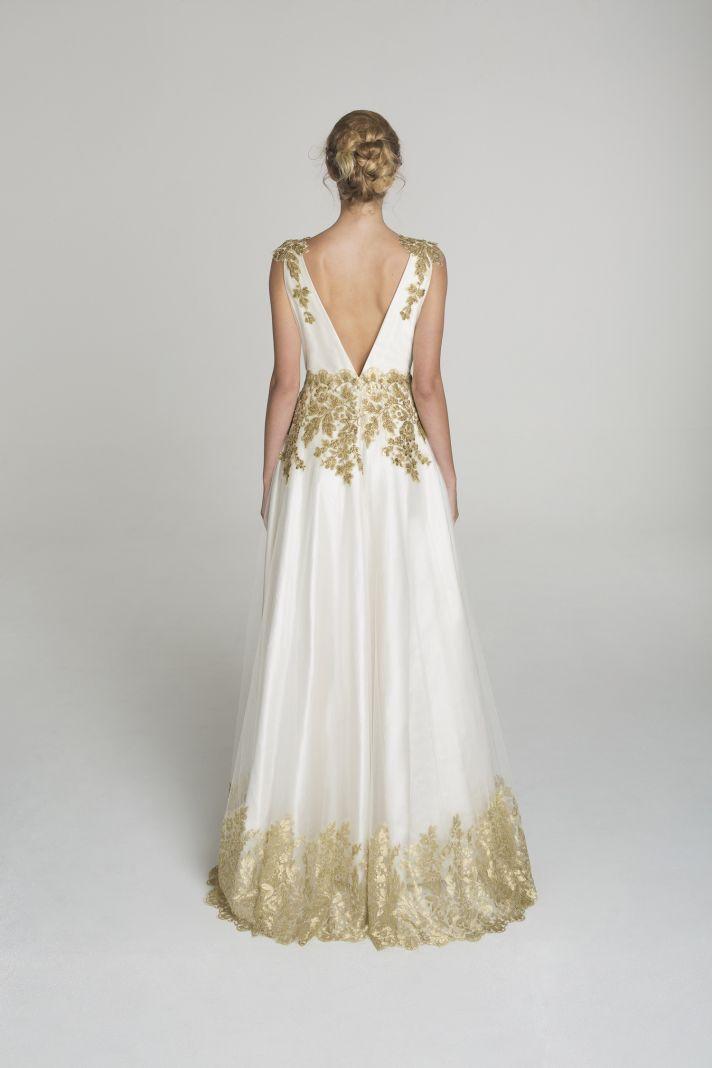 Gold applique wedding dress from Alana Aoun