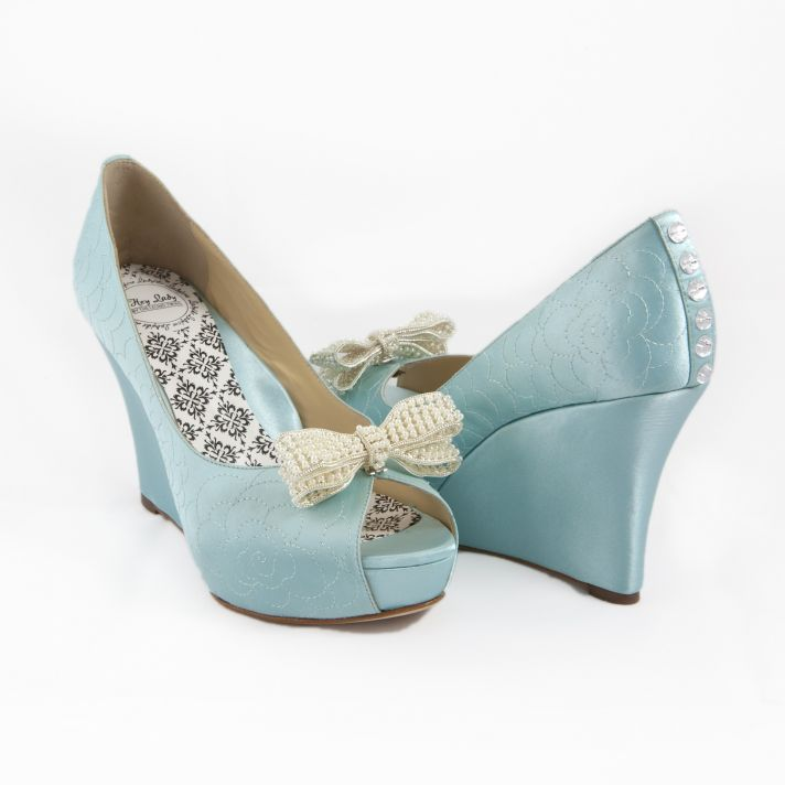 Something blue bridal heels with bow clip