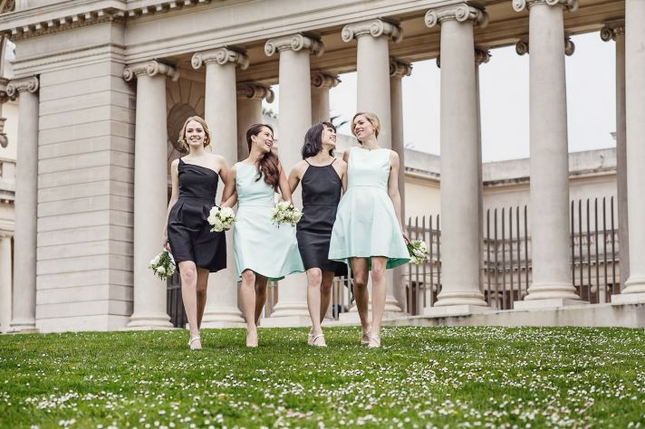 Charcoal and mint bridesmaids dresses by Weddington Way