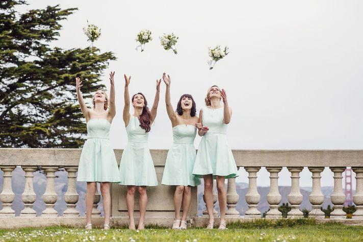 Mint bridesmaids dresses by Weddington Way