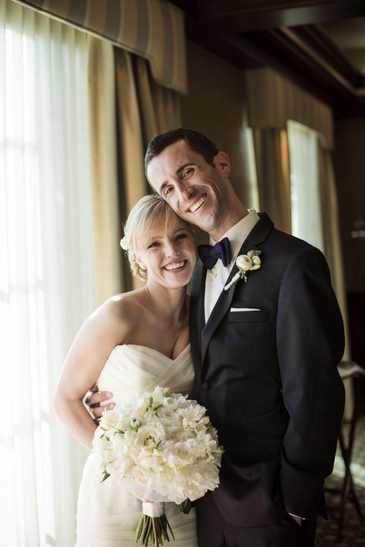 Black tie bride and groom