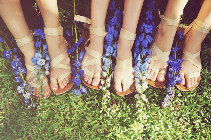 Boho bridesmaids wrap sandals