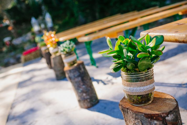 Ceremony aisle decor with succulents