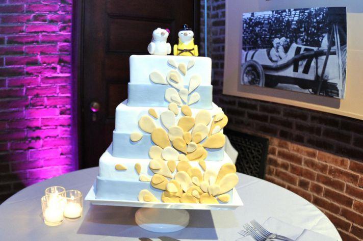 Yellow and grey wedding cake