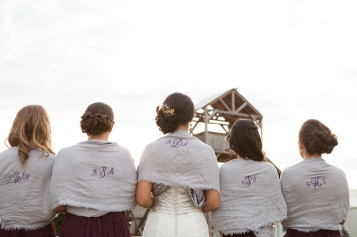 Bridesmaids shawls with personalized monograms