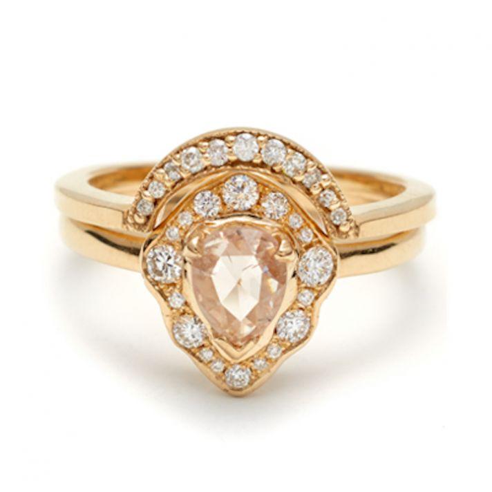 Camellia Petal and Crescent Bridal Set