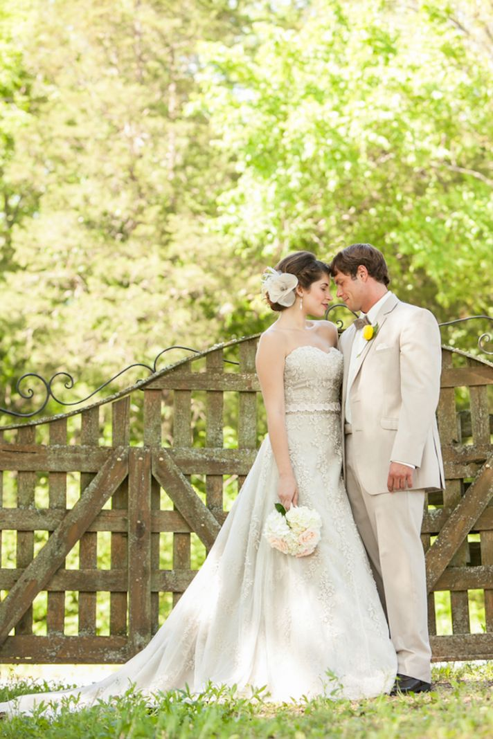 Bride and groom at a styled summer wedding