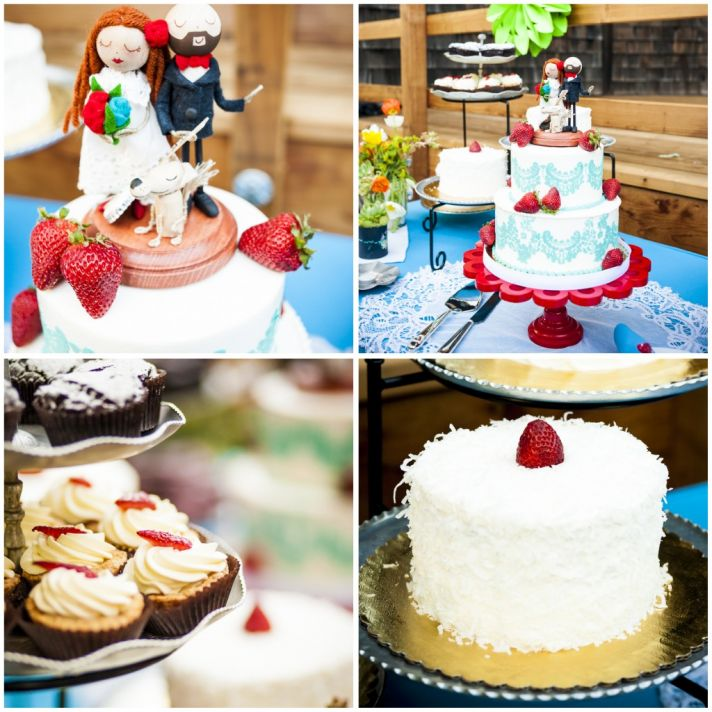 Red and blue wedding desserts