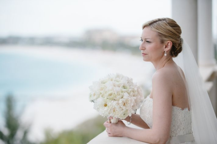 Contemplative bride at a destination wedding