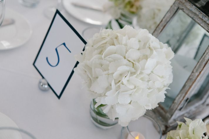 Simple beach wedding table numbers