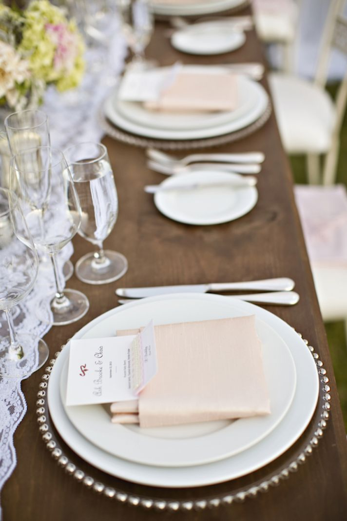 Blush napkin table settings