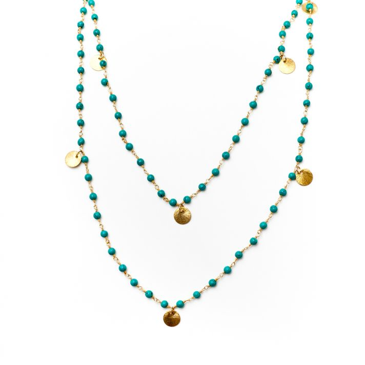 Blue and gold beaded necklace