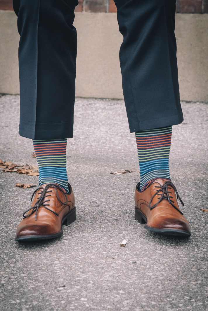 Groom shoes with fun socks