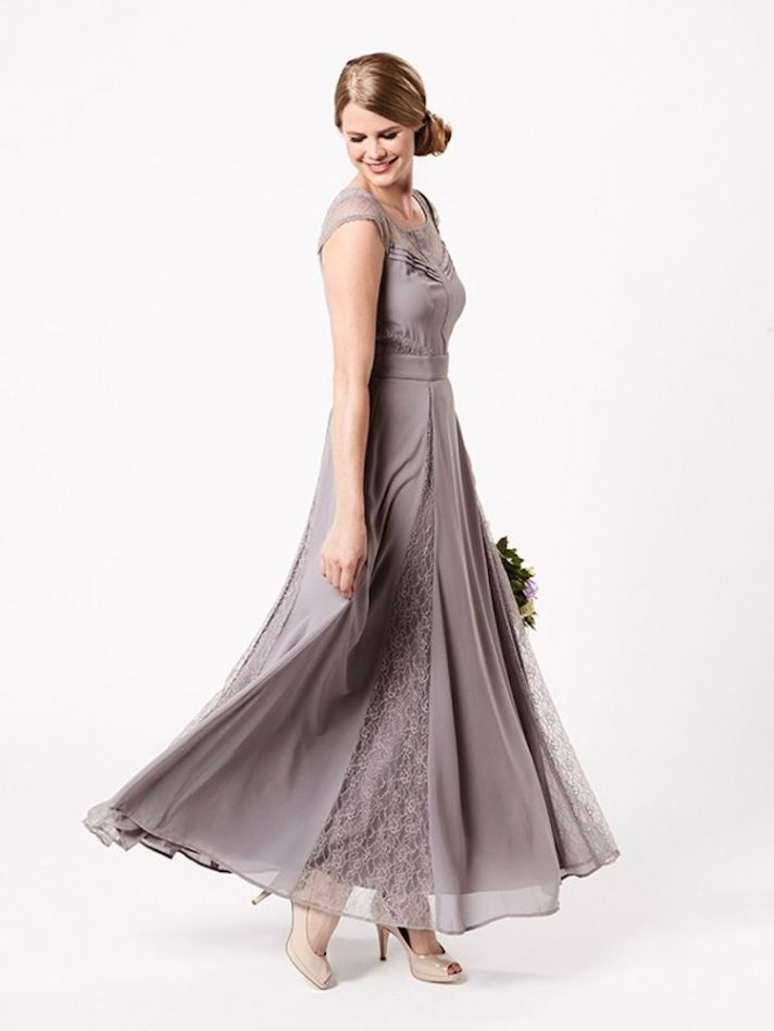 Pewter Bridesmaid Dress with Lace Inserts