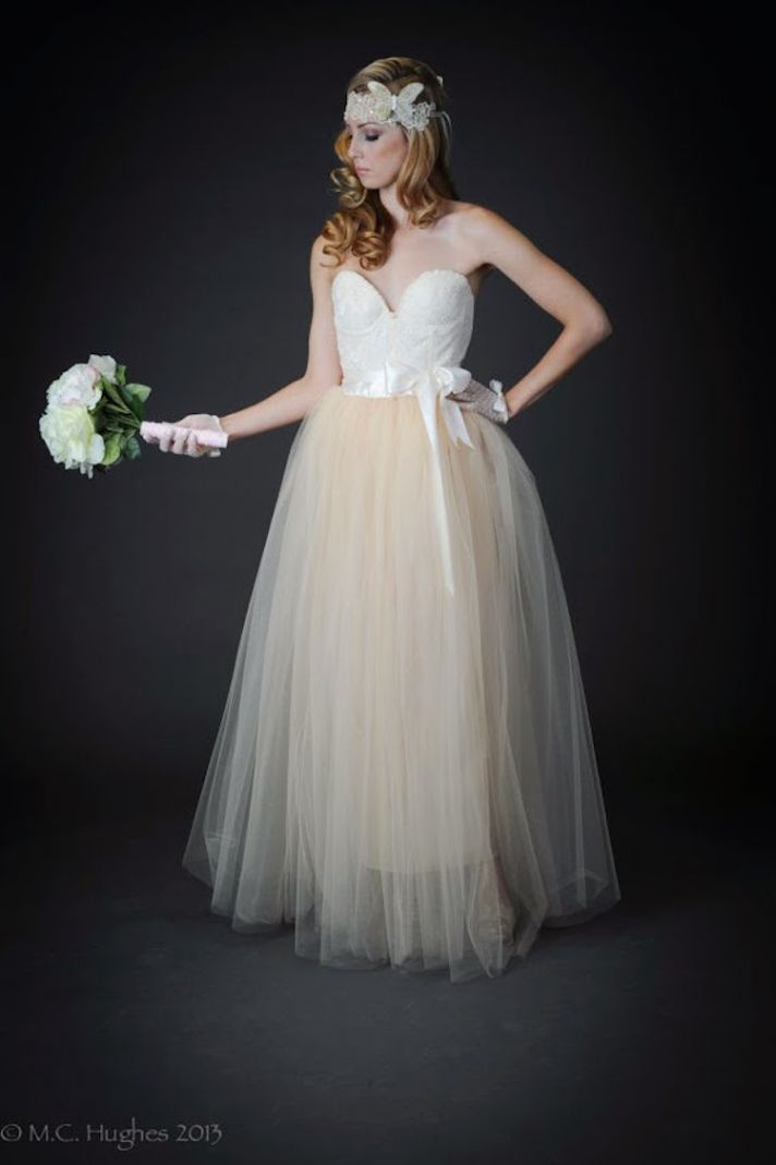 Sweetheart Neckline and Tulle Train