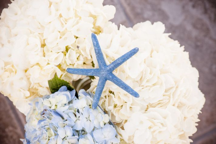 White and Blue Hydrangeas with Blue Starfish