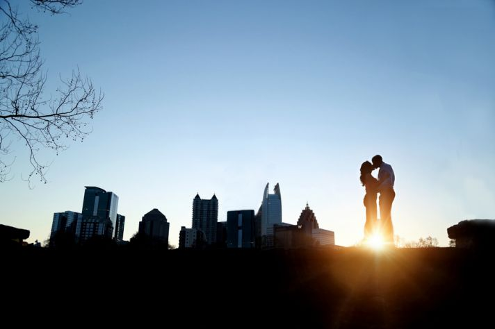 Engagement Session in front of a Skyline