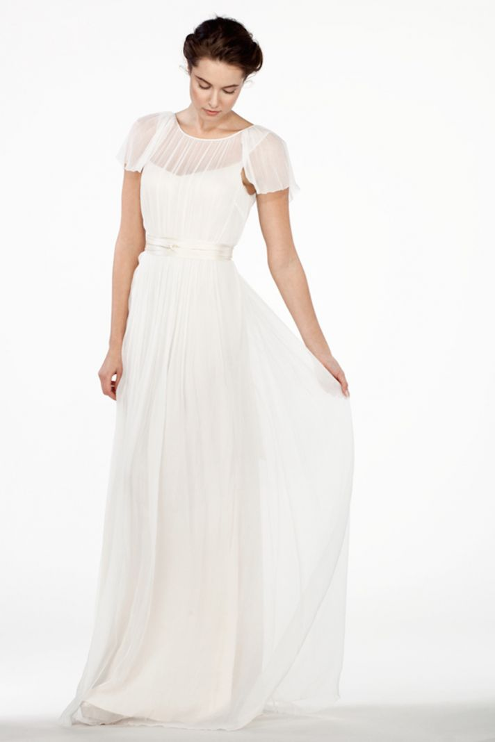 Draping Dress with Illusion Neckline and Flutter Sleeves