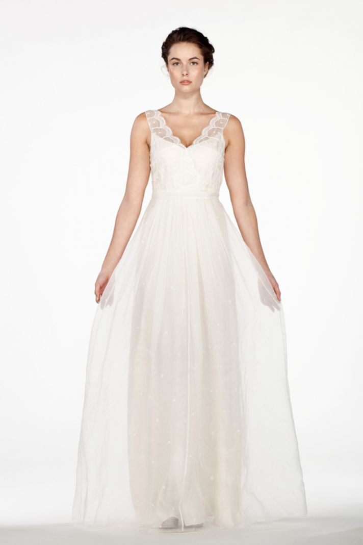 Ethereal Wedding Dresses 36 Unique Scallop Embroidered Silk Organza