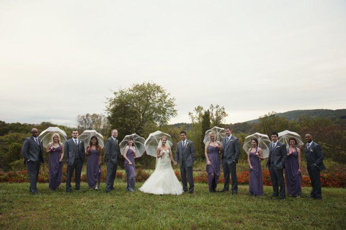 Bridal Party with Umbrellas