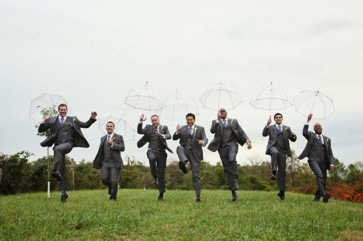Groomsmen with Umbrellas