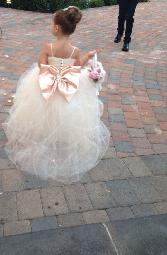 Full Tulle Flower Girl Dress with Large Pink Bow