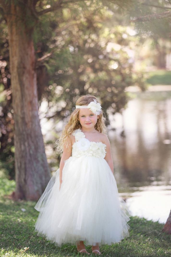 One Shouldered Flower Girl Dress with Embellished Flowers
