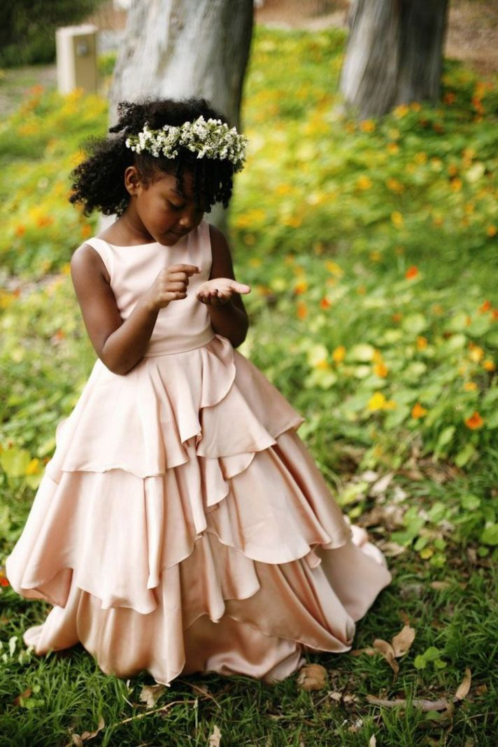 Pink Flower Girl Dress with Tiered Skirt