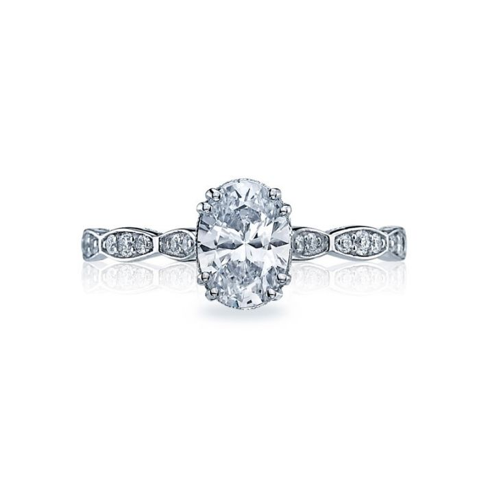 Oval Center Diamond with Marquis Diamonds on Band
