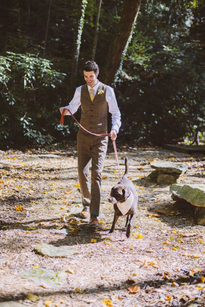 Groom and his Pup Walking Down the Aisle