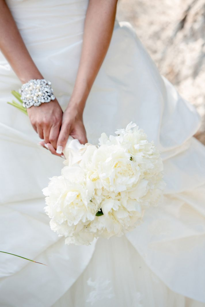 Beautiful All White Bouquet and Blingy Bracelet