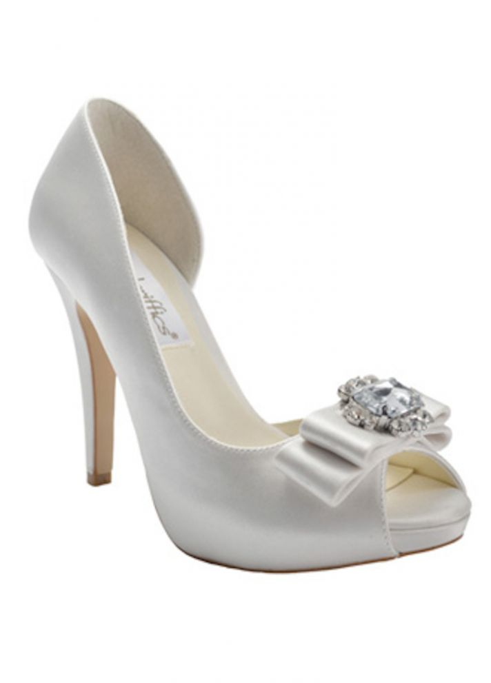 Bridal Shoes with Bow and Rhinestone Detail