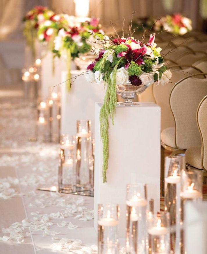 Classy Candles and Flower Ceremony Aisle