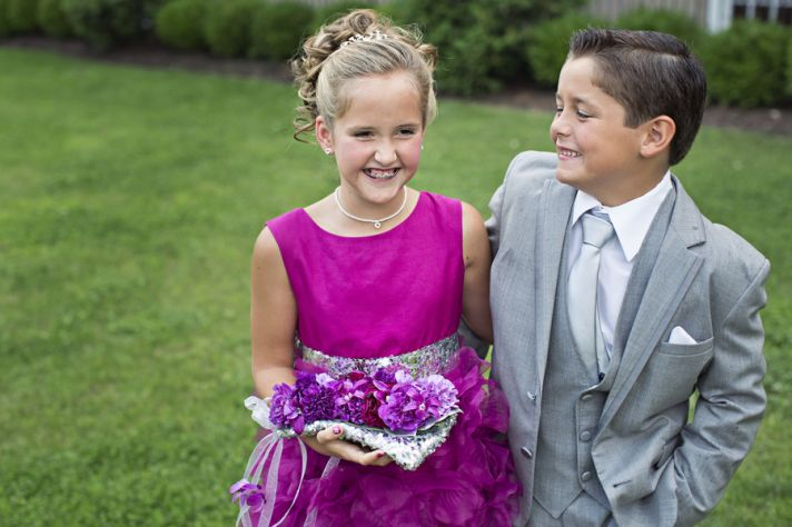 Pink Flower Girl Dress and Gray Ring Bearer Suit