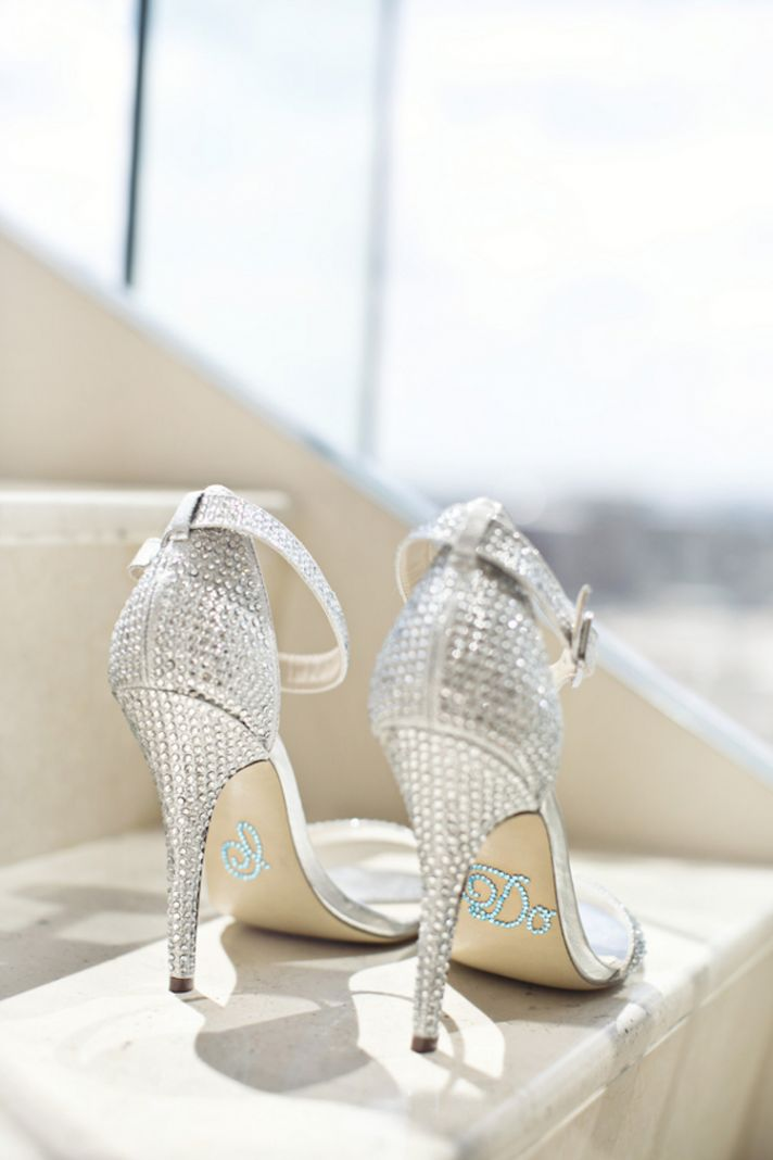 Glittery Silver Bridal Shoes