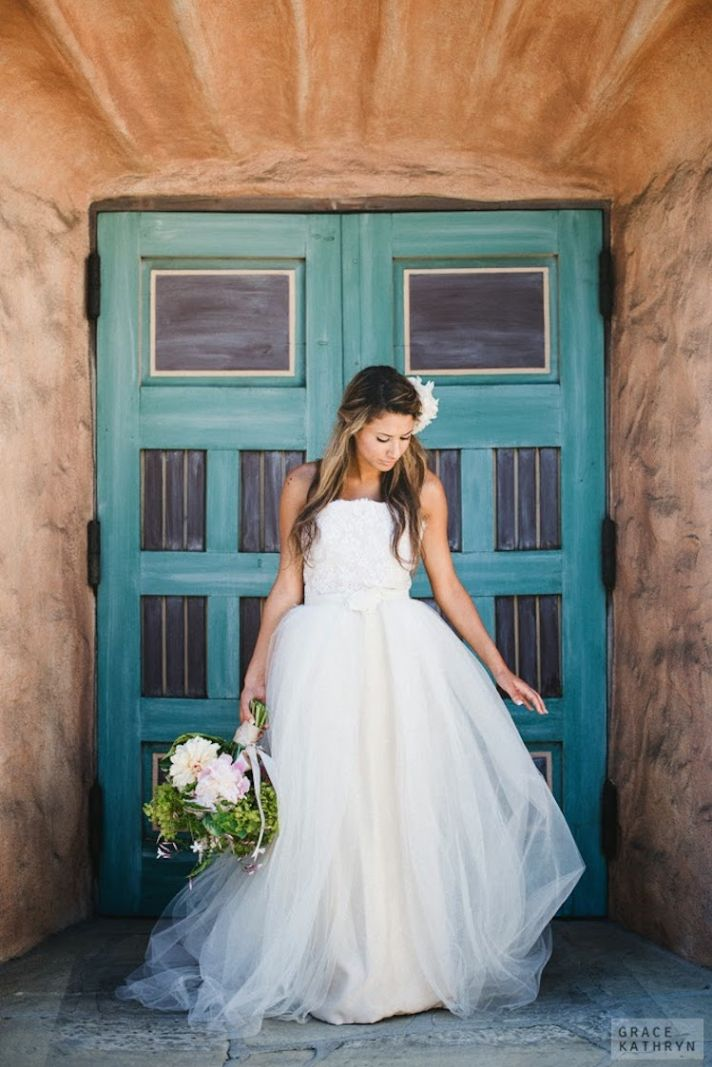 Bohemian Gown with a Full Tulle Skirt