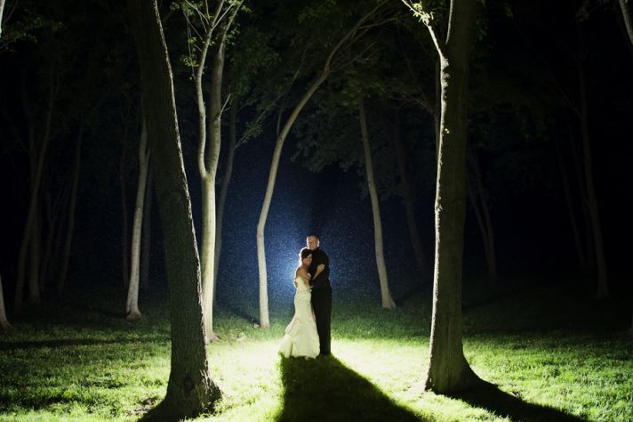 Newlyweds Picture in the Rainy Woods
