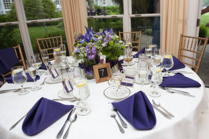 Purple Themed Reception Table Decor
