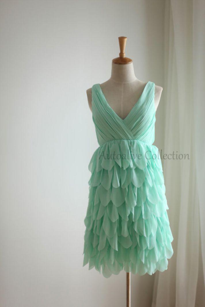 Short Mint Bridesmaid Dress with Ruffled Chiffon