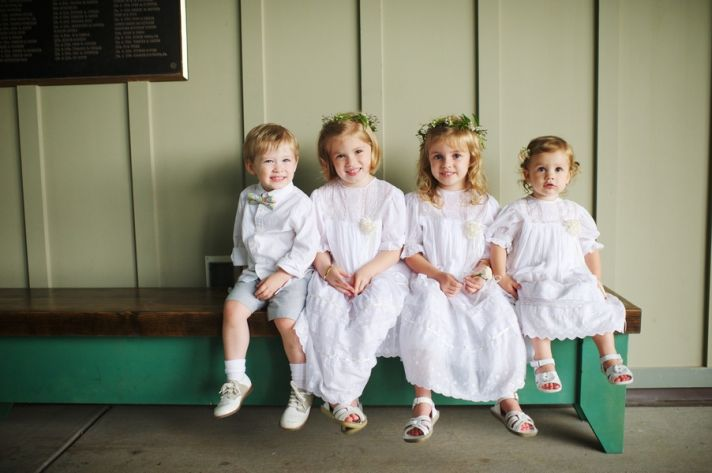 Darling Flower Girls and Ring Bearer All in White