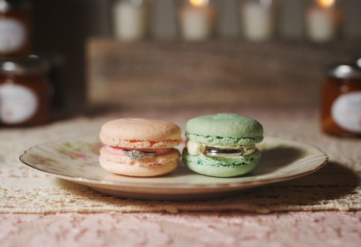 Rings in Pink and Blue Macaroons