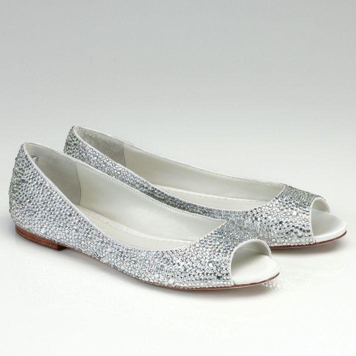 Silver Shoes Wedding 62 Great Peep Toe Crystal Encrusted